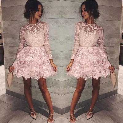 Pink Lace Long Sleeve Homecoming Dresses  Elegant Short Party Dress with Sash_3