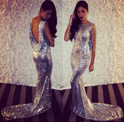 Sequined Mermaid Sleeveless Long Evening Dresses Latest Sweep Train  Backless Formal Occasion Dress BA7657_3