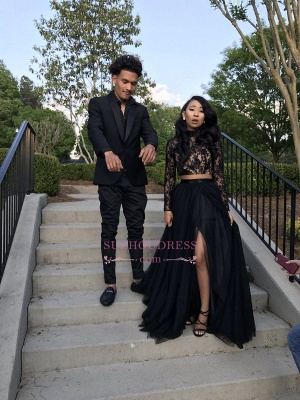 Two Piece Long Sleeve Evening Gown  Black Sexy Slit Lace Prom Dress SP0349_5