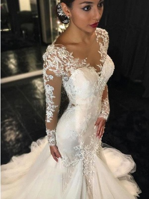 Lace Mermaid  Breathtaking Wedding Dresses V-neck Long Sleeve Modern Bridal Gowns WE0037_3