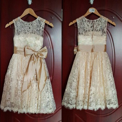 Cute Champagne Lace Flower Girl Dress with Bowknot New Arrival A-Line Wedding Dress_2