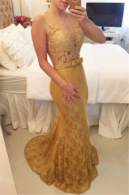 Gold Lace Mermaid Plus Size Evening Dress Sexy Sheer Tulle New Popular Prom Dress  BMT012_2