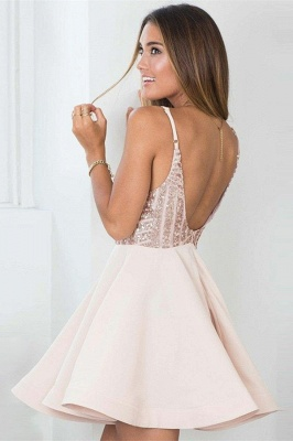 Elegant Spaghetti Straps Homecoming Dresses  |  Short Open Back Hoco Dresses_3