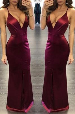 Sexy Deep V-neck Straps Burgundy Evening Dress  Long Formal Party Dresses  FB0160_1