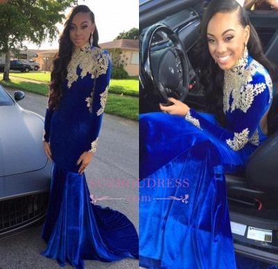 Appliques Royal Blue High Neck Long Sleeves Evening Dresses  Mermaid Prom Dress BA6113_1