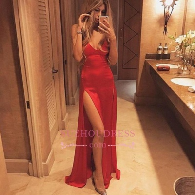 Split Sexy Spaghetti-Strap Floor-Length Red Prom Dress PT027_1