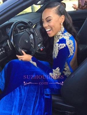 Appliques Royal Blue High Neck Long Sleeves Evening Dresses  Mermaid Prom Dress BA6113_4