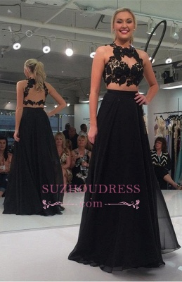Black Two-Piece Sexy A-line Lace-Appliques Sleeveless Prom Dress_2