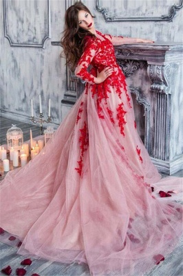 Red Lace Long Sleeve Prom Dresses  Stunning Pink Tulle Formal Evening Dress_1
