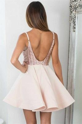 Elegant Spaghetti Straps Homecoming Dresses  |  Short Open Back Hoco Dresses_4