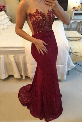 Gold Lace Mermaid Plus Size Evening Dress Sexy Sheer Tulle New Popular Prom Dress  BMT012_3
