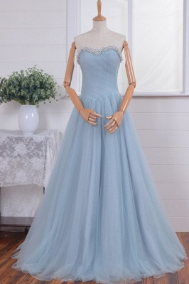 New Arrival Sweetheart Crystal Prom Dress A-Line Tulle Beading Formal Occasion Dresses_3