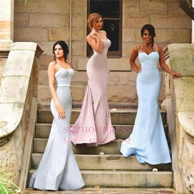 Zipper Sleeveless Spaghetti Strap  Dresses for Honor of Bride Elegant Mermaid Bridesmaid Dress_1