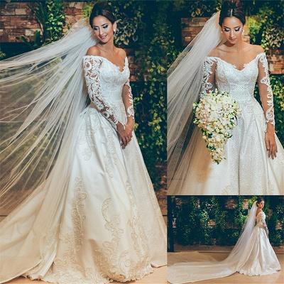 Alluring Off The Shoulder Long Sleeve Satin Wedding Dresses 3D Lace Appliques Bridal Gowns Online_4