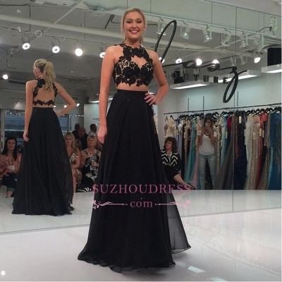 Black Two-Piece Sexy A-line Lace-Appliques Sleeveless Prom Dress_1