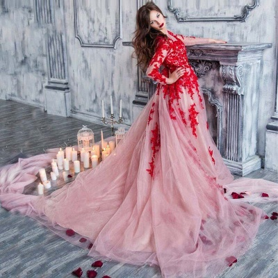 Red Lace Long Sleeve Prom Dresses  Stunning Pink Tulle Formal Evening Dress_3