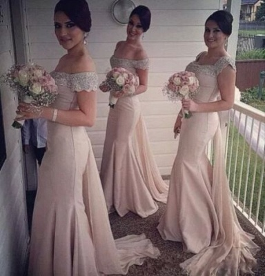 Sexy Crystal Off the Shoulder Mermaid Bridesmaid Dress New Arrival Beadings Long Wedding Party Dress_3