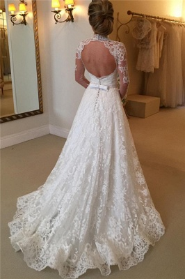 High Neck Lace Open Back Wedding Dress Vintage Long Sleeves Bridal Gown with Bow_3