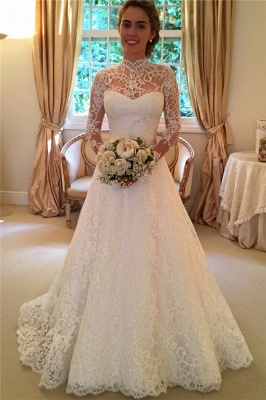 High Neck Lace Open Back Wedding Dress Vintage Long Sleeves Bridal Gown with Bow_1
