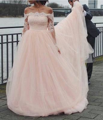 Cute Pink Off the Shoulder Prom Dress Long Sleeve Lace Tulle Evening Gown_1