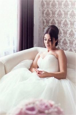 New Arrival Sweetheart Ball Gown Bridal Gown Latest Tulle Lace-Up Plus Size Wedding Dress_1