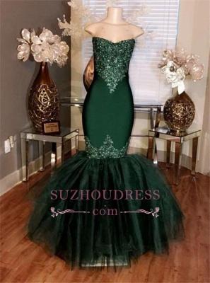 Prom Sweetheart Tulle Long Appliques Mermaid Dresses Sleeveless  BA5057_1