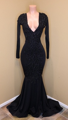 Elegant V-Neck Sleeved Sequins Prom Dress Long Mermaid Party Dress With Lace Appliques_1