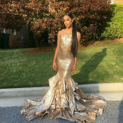 Gold Sequin Mermaid Prom Dresses  Sleeveless Ruffles Evening Gowns SK0128_3