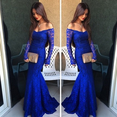 Mermaid Long Sleeve Royal Blue  Evening Dress Lace Off the Shoulder Party Gown BO9295_3