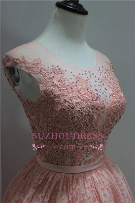 Sleeveless Elegant Appliques Short Lace Hi-Lo Beadings Homecoming Dress BA6155_3