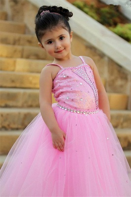 Pretty Pink Crystal Flower Girl Dresses    Open Back Pageant Dress with Detachbale Skirt_3