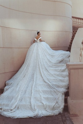Princess Lace Appliques Wedding Dress with Beads| Off The Shoulder Ball Gown Bride Dress with Long Train_5