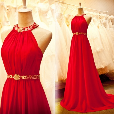 Sexy Bright Red Chiffon Halter Prom Dresses with Crystal Sash Long Train Ruffles Custom Made Evening Gowns CJ0146_2