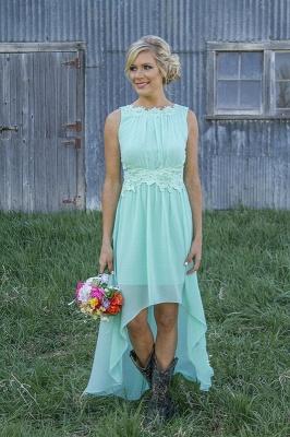New Arrival Chiffon A-Line  Bridesmaid Dress Lace Applique Hi-Lo Wedding Party Dress_1