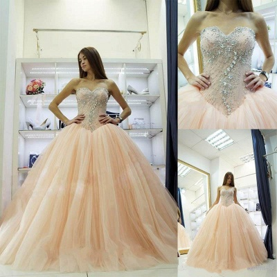 Pretty Sweetheart Princess Ball Gowns Crystals Beading  Wedding Dresses_3