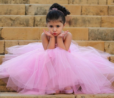 Pretty Pink Crystal Flower Girl Dresses    Open Back Pageant Dress with Detachbale Skirt_6