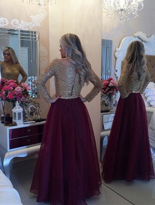 A-Line Long Sleeve Prom Dress with Beadings Latest Bowknot Floor Length Evening Gowns BA4714_3