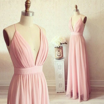 Spaghetti Straps Deep V-neck Evening Gown Chiffon   Summer Party Dress CE0076_3