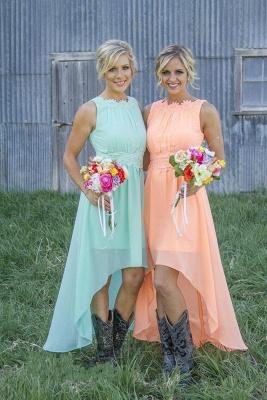 New Arrival Chiffon A-Line  Bridesmaid Dress Lace Applique Hi-Lo Wedding Party Dress_4