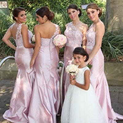 Pink Mermaid One Shoulder Bridesamid Dresses Lace Elegant  Floor Length Wedding Party Dresses_2
