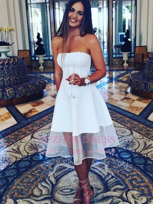 A-line White Sleeveless Knee Length  Newest Strapless  Homecoming Dress BA3855_2