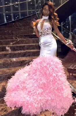 New Arrival Pink High Neck Mermaid Prom Dresses  Keyhole Applqiues Evening Dresses SK0129_5