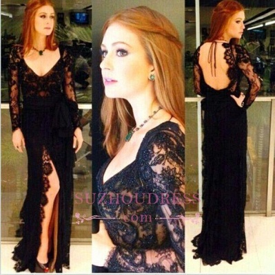 Amazing Side Slit Open Back Formal Dresses Long Sleeves Black Lace Evening Gowns_1