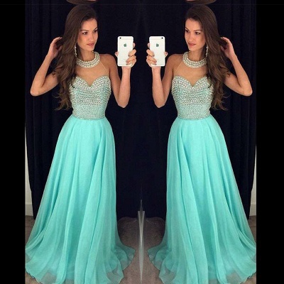 A-line Halter Chiffon Prom Dress With Beading Crystals A-line Open Back Evening Gowns_3