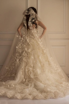 Off-the-shoulder Lace Appliques Beautiful Tulle Wedding Dress_3