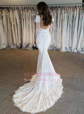 Sexy Mermaid V-Neck Wedding Dresses  Open Back Short Sleeves Bridal Gowns_1