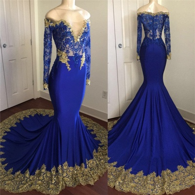 Off The Shoulder Royal Blue Prom Dresses | Gold Lace Appliques Sexy Evening Dress with Sleeve BA8283_3