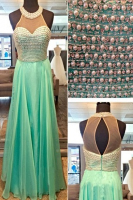 A-line Halter Chiffon Prom Dress With Beading Crystals A-line Open Back Evening Gowns_4