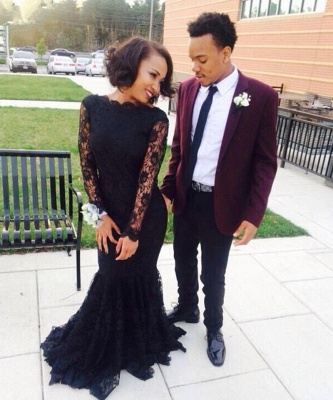 Sexy Mermaid Black Long Sleeve Evening Gown New Arrival Lace Formal Occasion Dresses AE0104_3