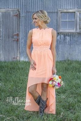 New Arrival Chiffon A-Line  Bridesmaid Dress Lace Applique Hi-Lo Wedding Party Dress_5